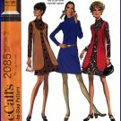 Vintage McCall's Sewing Pattern 2085 Sz 12 Misses' Mod Retro 60s Mock Neck Dress Vest Go-Go Outfit