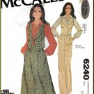 Vintage McCall's Sewing Pattern 6240 Sz 10-14 Misses' 70s Vest Skirt Pants Double Breasted Waistcoat