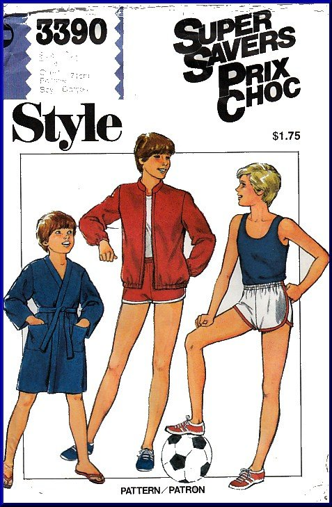 Vintage Style Sewing Pattern 3390 Sz 10 Boys' Children's Bomber Zip-up Jacket Robe Running Shorts