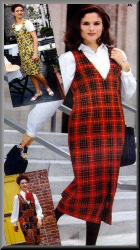 Sewing Step-By-Step Pattern 012-052-170 Jumper Sz 4-22 Misses' Basic V-Neck Scoop Neck Jumper Dress