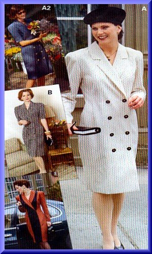 Sewing Step-By-Step Pattern 012-052-167 Double Breasted Coatdress Sz 4-22 Misses' Tailored Dress