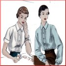 Vintage Vogue Sewing Pattern 7009 Size 16 Misses' 50s Blouse Pleats Tucks Long Sleeves Gathered Cuff
