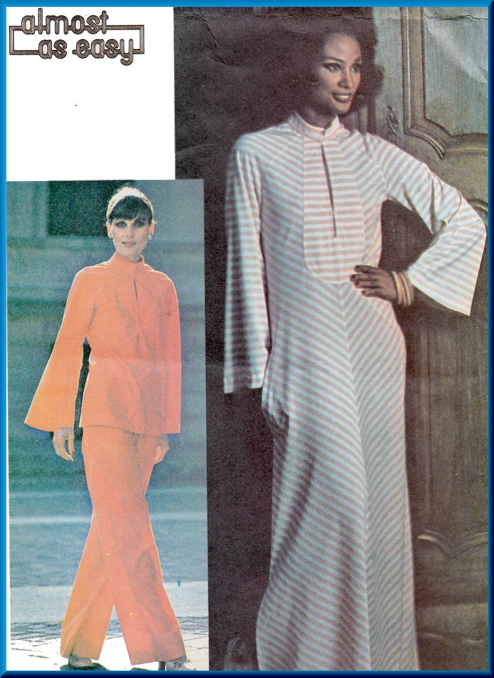 Vintage McCall's Sewing Pattern 4950 Size 12 Misses' 70s Dress Caftan Top Bell Sleeves Wide Pants