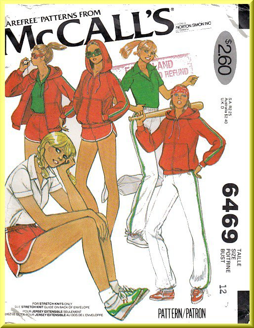 Vintage McCall's Sewing Pattern 6469 Size 12 Misses' 70s Sweatsuit Running Shorts Jogging Pants Top
