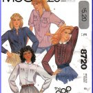 Vintage McCall's Sewing Pattern 8720 Size 8 Misses' the Gap Button Shirts Blouses Collar Cuffs Retro