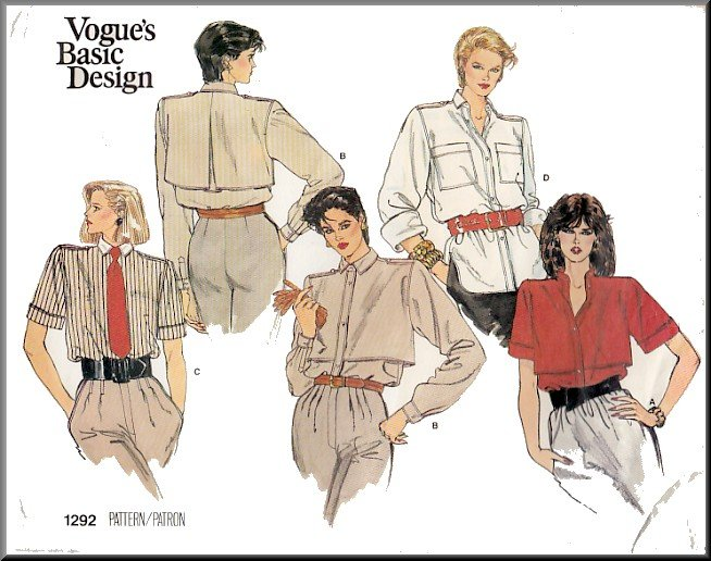 Vogue Sewing Pattern 1292 Size 8-12 Misses' Tailored Button Front Shirt Blouse Epaulets Cuff Sleeves
