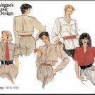 Vogue Sewing Pattern 1292 Size 8-12 Misses&#39; Tailored Button Front Shirt Blouse Epaulets Cuff Sleeves