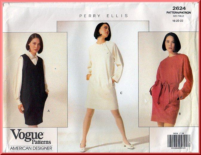 Vogue Sewing Pattern 2624 Size 18-22 Misses' Perry Ellis Dress Jumper Sash Mod Tapered Jumper Belt