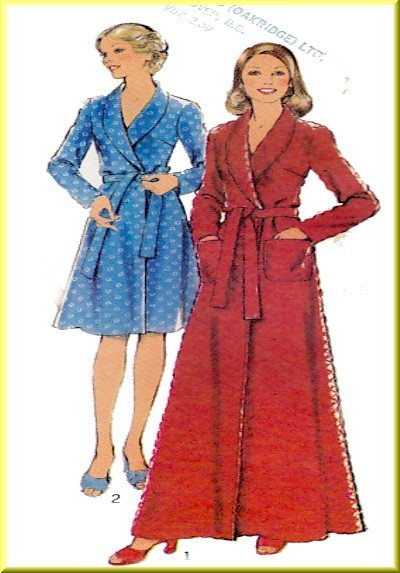 Vintage Style Sewing Pattern 4922 Size 8-10 Misses' 70s Housecoat Wrap Robe 3 Lengths Shawl Collar