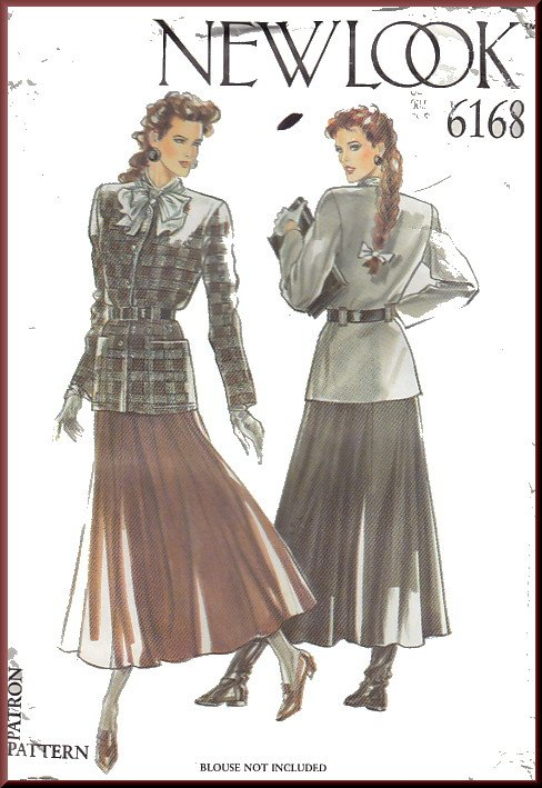 New Look Sewing Pattern 6168 Size 8-18 Misses' Classic Belted Jacket Long Full Flared Skirt