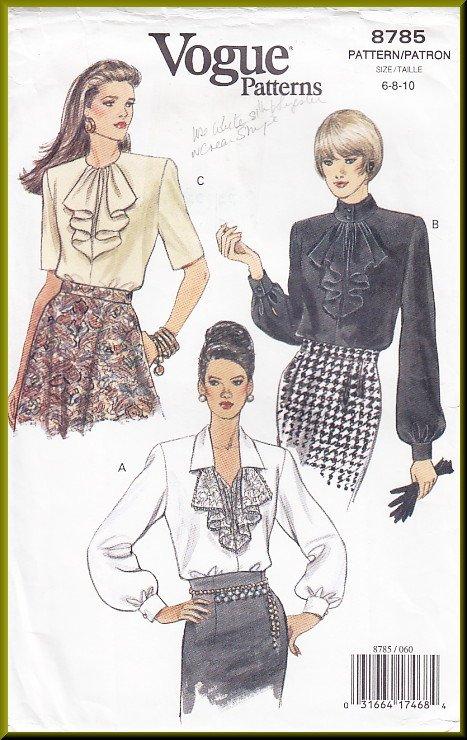 Vogue Sewing Pattern 8785 Size 6-10 Misses' Blouses Flounces Ladylike 90s Poet's Shirt Button Cuffs