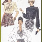 Vogue Sewing Pattern 8785 Size 6-10 Misses' Blouses Flounces Ladylike 90s Poet's Shirt Button Cuffs
