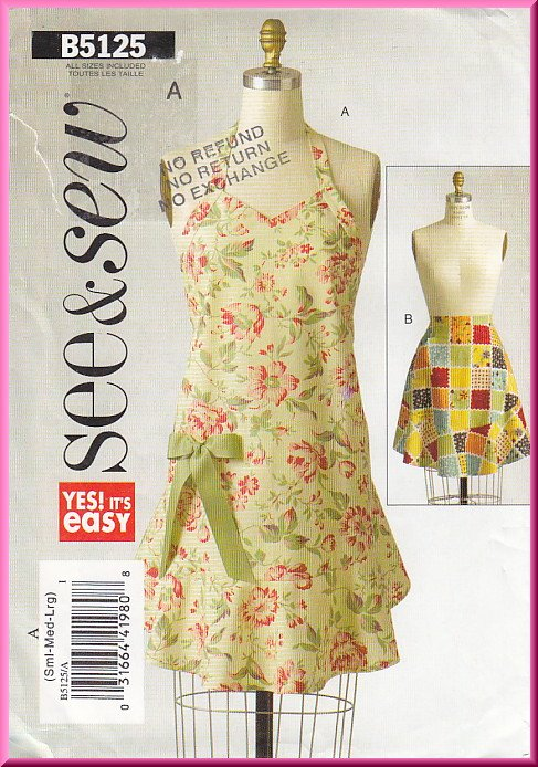 Butterick Sewing Pattern 5125 Size S-L Misses' Cooking Kitchen Aprons Full Half Circular Flounce