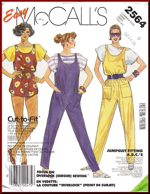 Vintage McCall's Sewing Pattern 2564 Size 12-16 Misses' Casual Jumpsuit Romper T-shirt Easy 80s Fun