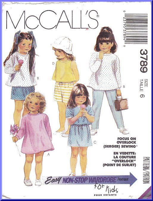 Vintage McCall's Sewing Pattern 3789 Size 6 Girls' Easy Knit Separates Top Skirt Pants Shorts Dress