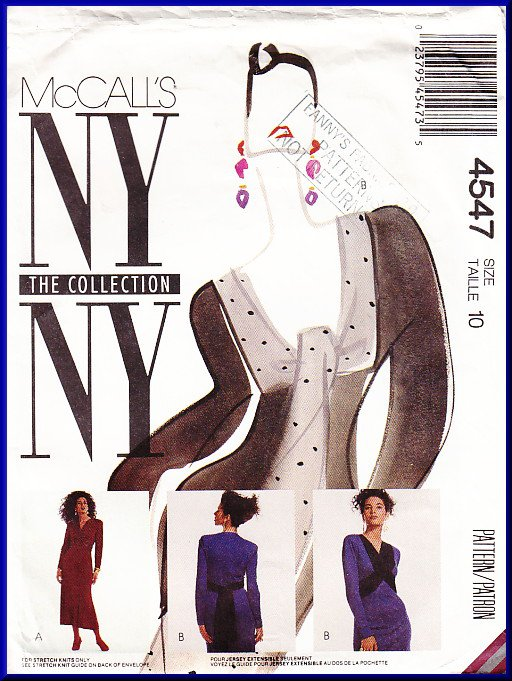 Vintage McCall's Sewing Pattern 4547 Size 10 Misses' Knit Dress Front Crossover Ties Trumpet Skirt