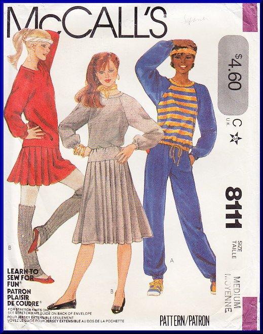 Vintage McCall's Sewing Pattern 8111 Sz 14-16 Misses' Knit Separates Sweatshirt Pants Pleated Skirt