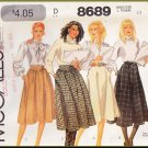 Vintage McCall's Sewing Pattern 8689 Size 10 Misses' Flared Skirts Gathered Yoke Straight Waistband