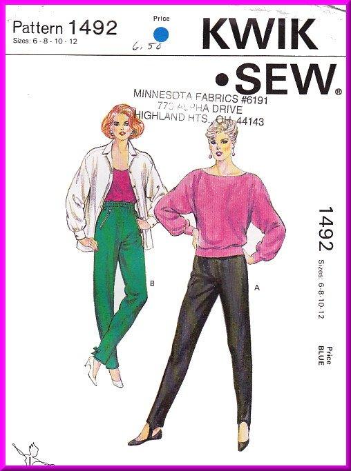 Vintage Kwik Sew Sewing Pattern 1492 Size 6-12 Misses' Stirrup Tights Retro 80s Slim Knit Pants Zips