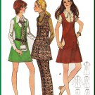 CUT Vintage Butterick Sewing Pattern 5869 Size 11 Junior Teen Mod Dress Jumper Pants Collar Pockets