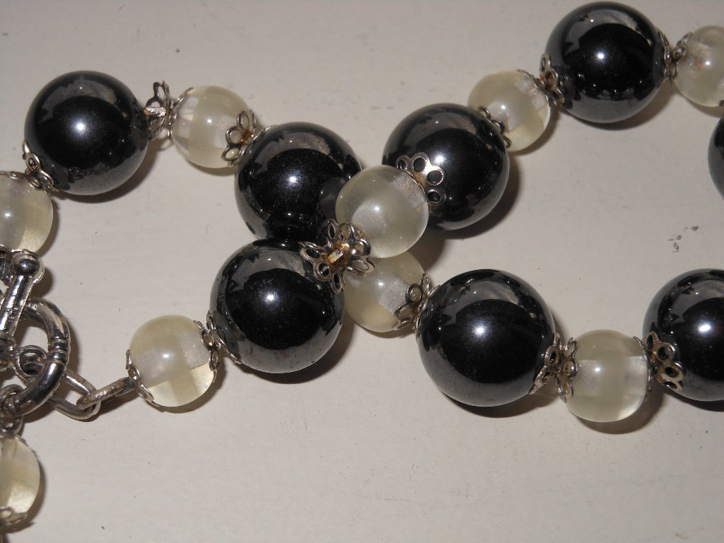 Black and White Tuxedo Bracelet Round Hematite Glass Beads Handmade Chunky Mod Bracelet