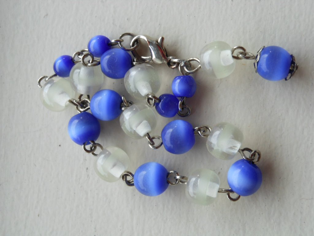 Cute Periwinkle Blue and Frosted Clear Glass Beaded Dainty Charming Bracelet Handmade Lobster Clasp