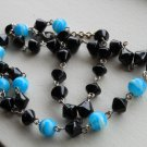 "Black and Turquoise Lariat Necklace Glass Beads 21"" Matinee Length Dangling Charm Sexy Funky Chic"