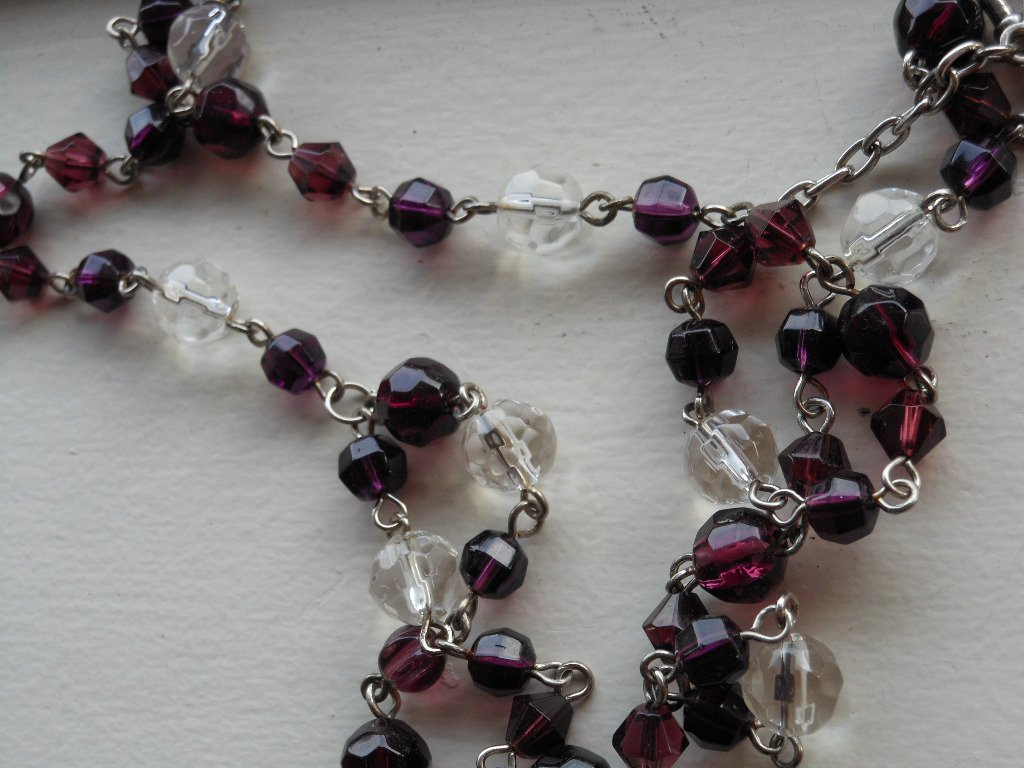 "Rich Aubergine Purple Faceted Necklace Clear Glass Beads 22.5"" Matinee Length Elegant Pretty Lariat"