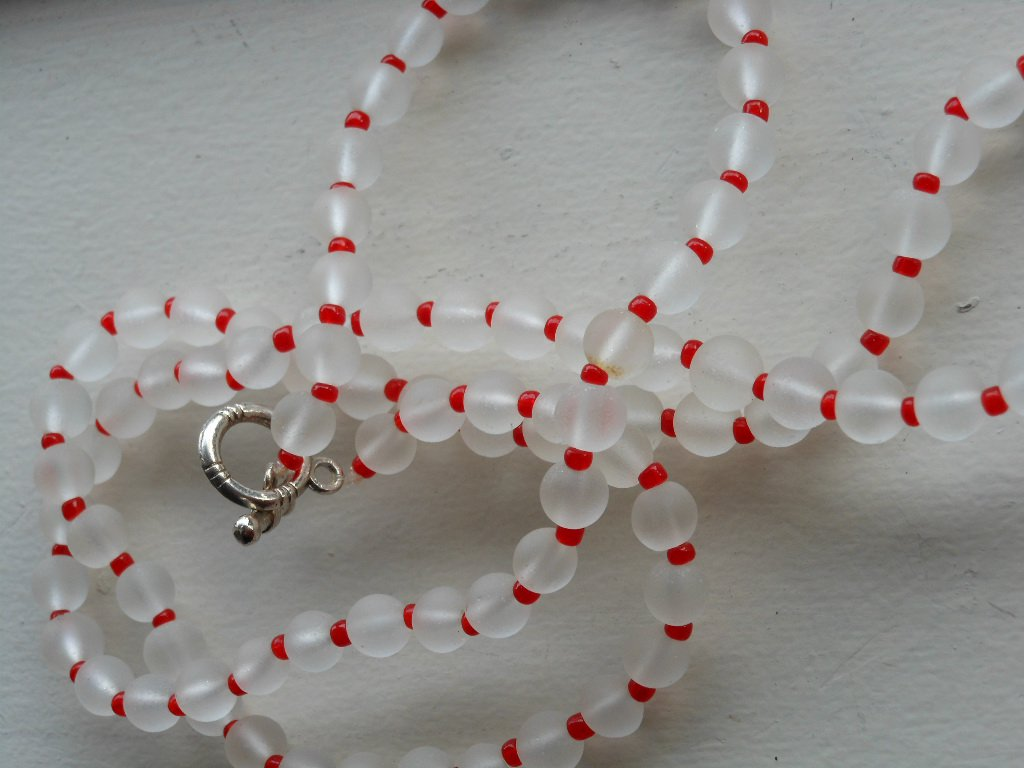 """Cute Clear Frosted Glass Necklace Red Seed Beads 26.5"""" Opera Length Mod Simple Elegant Chic Handmade"""