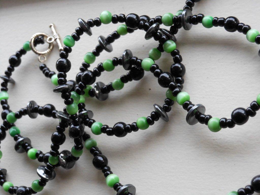 "Stylish Black and Jade Green Necklace Glass Beads 39"" Rope Length Funky Trendy Boho Chic Handmade"