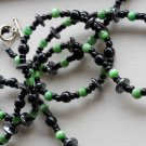 "Stylish Black and Jade Green Necklace Glass Beads 39"" Rope Length Funky Trendy Boho Chic Handmade"