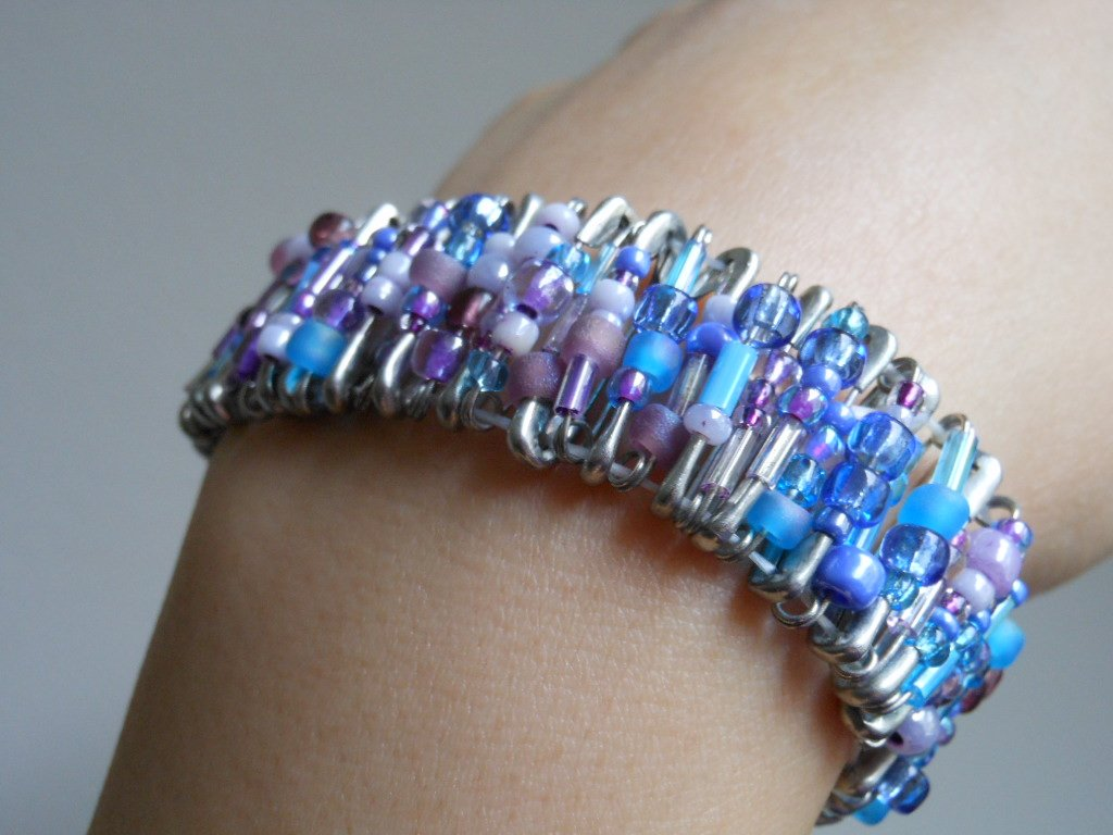 Icy Blue Lavender Safety Pins Cuff Stretch Handmade Bracelet Rock and Roll Glamazon Grunge Goth Chic