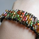Gold Green Glass Beaded Safety Pins Stretchy Bracelet Handmade Cuff Trendy Cool Street Gothic Style