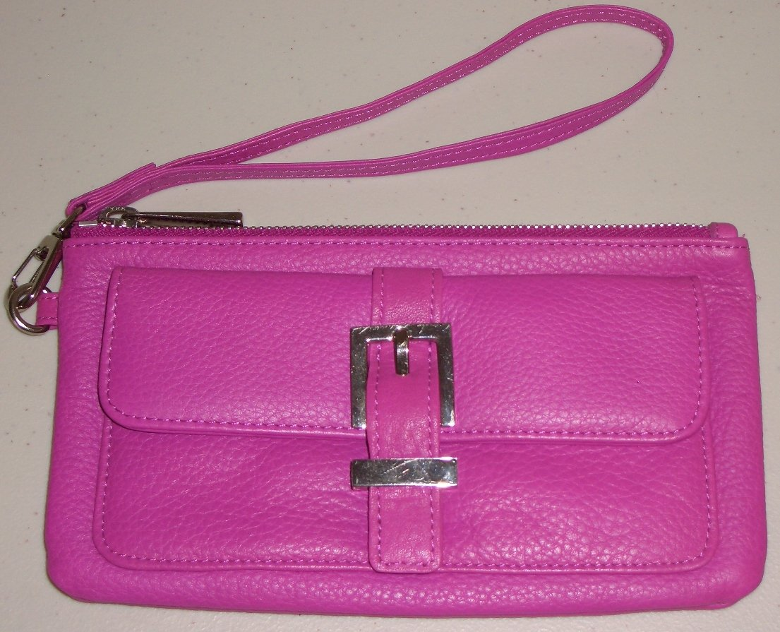 Vibrant Fucshia Pink Leather Express Wristlet Purse Clutch Trendy Sporty Casual Bag
