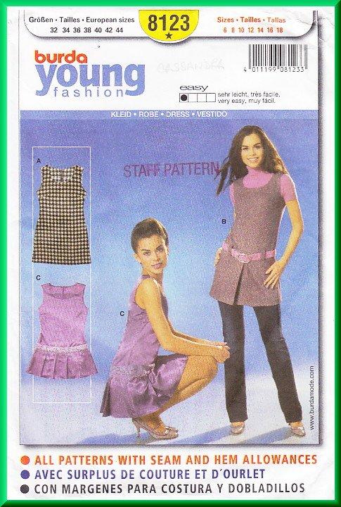 Burda 8123 Sewing Pattern Sz 6-18 Misses' Tunic Dress Mod 60s GoGo Scooter Dress Jumper Pleats Retro