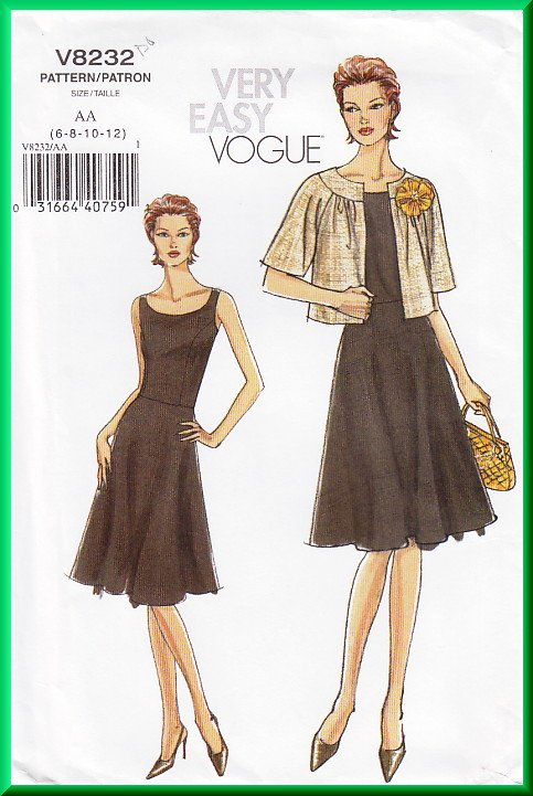 Vogue 8232 Sewing Pattern Size 6-12 Misses' Outfit Cardigan Jacket Dress Pretty Fit and Flare Dress