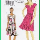 Vogue 8553 Sewing Pattern Size 6-12 Misses' Pleated Knit Dress Pretty Cap Sleeves Gathered Neck Sash