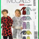McCall's 5222 Sewing Pattern Sz 1-3 Toddlers' Children's Pajamas Nighttime Sleepwear Robe PJs Pants