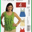 McCall's 5853 Sewing Pattern Sz 4-10 Misses' Trendy Tank Tops Bubble Flounce Tiered Floral Applique