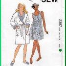 Kwik Sew 2387 Sewing Pattern Sz XS-XL Misses' Sleepwear Nightgown Robe Slippers Babydoll Sleepdress