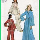 Simplicity 6044 Vintage Sewing Pattern Sz 8 Misses Caftan Pants Set Top Tunic Dress 70s Hippy Chic