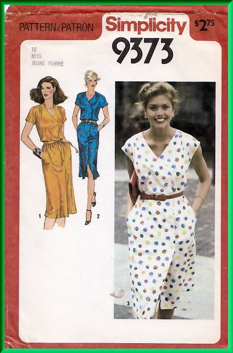 Simplicity 9373 Vintage Sewing Pattern Sz 10 Misses' Retro Dress Double Breasted Cap Sleeves Pleats