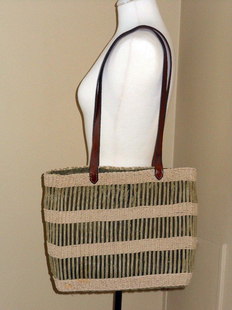 Sage Green Striped Straw Beach Tote Inge Sport Casual Shopping Bag Shoulder Purse Green Cream Stripe