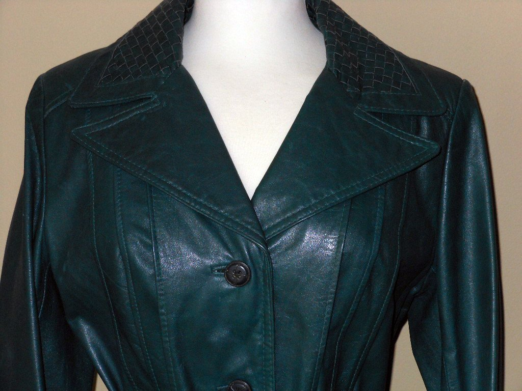 Vintage 70s Green Leather Trench Retro Notched Collar Long Blazer Teal Woven Trim Belted Spy Coat