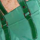 Green Banana Republic Purse Handbag Emerald Nylon Patent Leather Handles Sporty Trendy Shoulder Bag