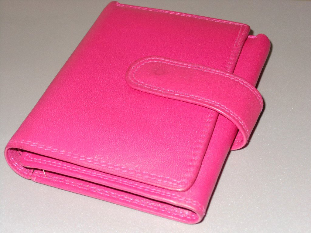 Bright Pink Leather Samsonite Wallet Fuchsia Pocketbook Bill Holder Classic Folio Style Soft Leather