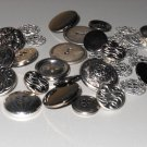 Antique Silver Tone Gunmetal Buttons Lot Shank Flat Sew On Crests Floral Plain Suits Jackets Coats