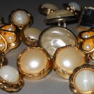 Fancy Faux Pearl Gold Tone Buttons Rhinestone Center for Decoration Sewing Jewelry Crafts Hobbies