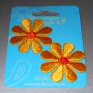 Iron-on Daisy Appliques Yellow Orange Flowers One Pair Shiny Embroidered Floral Patch Clothing Craft