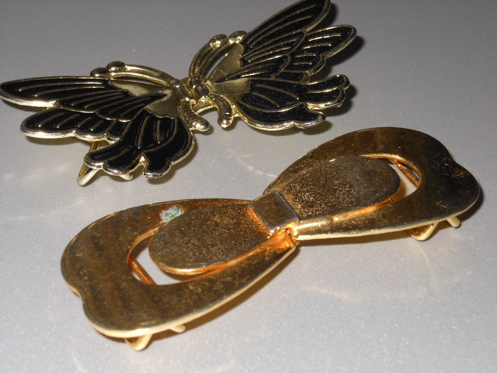 Gold Tone Belt Buckles Butterflies Buckles 80s Retro DIY Elastic Self Fabric Belt Sewing Clothing